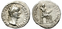 Ancient Coins - TIBERIUS. ( AD 14-37 ) SILVER DENARIUS. TRIBUTE PENNY. EXCELLENT CONDITION.