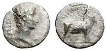 Ancient Coins - OCTAVIUS AUGUSTUS. SILVER DENARIUS. SAMOS MINT. WEAK BUT RARE & AFFORDABLE