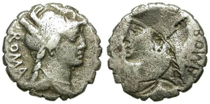 Ancient Coins - ROMAN REPUBLIC. BROCKAGE SILVER DENARIUS. POBLICIA 9. NICE TONING