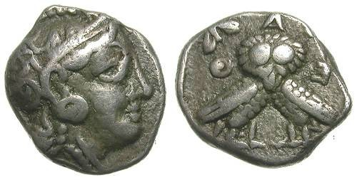 Ancient Coins - ATHENS. DIOBOL. COURIOUS DOUBLE OWL REVERSE !