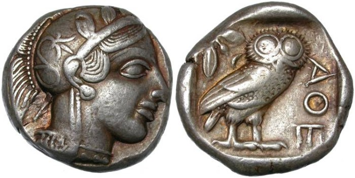 Ancient Coins - ATHENS, ATTICA. SILVER TETRADRACHM. SO NICE.