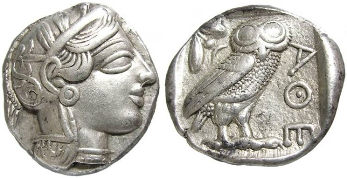 Ancient Coins - ATHENS  AR  TETRADRACHM.  GREAT  QUALITY.