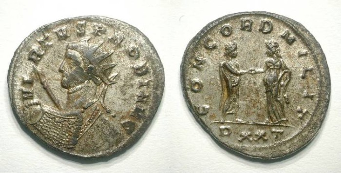 Ancient Coins - PROBUS. ANTONINIAN. Almost EF. Mostly silvered. Great heroical nude bust !