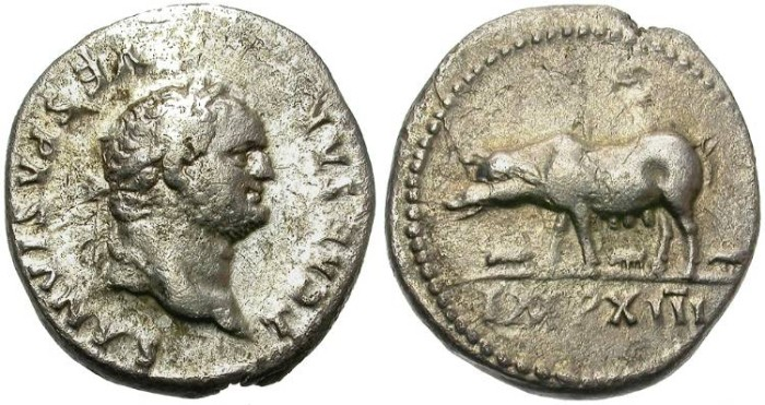 Ancient Coins - TITUS  69 - 79 A.D.  AR  DENARIUS.  ROME MINT. PIG ON REVERSE.