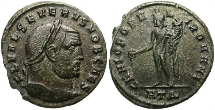 Ancient Coins - SEVERUS II,  AE FOLLIS. AD 305-306.  HERACLEA MINT. SCARCE AND AFFORDABLE.