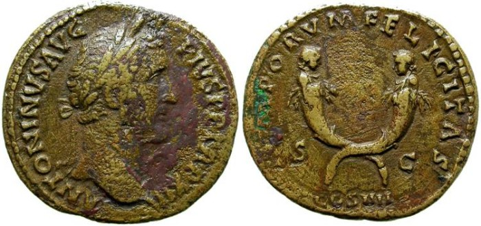 Ancient Coins - ANTONINUS PIUS. SESTERTIUS. INTERESTING REVERSE.
