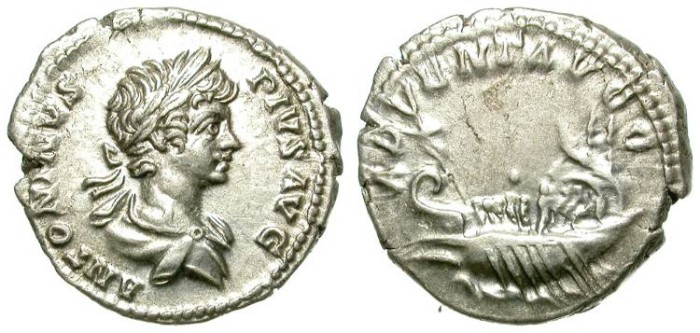 Ancient Coins - CARACALLA. DENAR. YOUNG BUST. GALLEY ON REVERSE. NICE