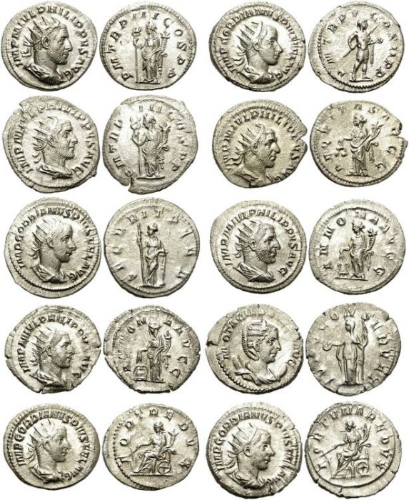 Ancient Coins - INTERESTING AND AFORDABLE GROUP OF 10 SILVER ANTONINIANI /2