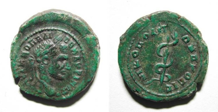 Ancient Coins - MACRINUS. PROVINCIAL ISSUE FROM NIKOPOLIS. NICE VF. MEDICAL RELATED & WONDERFUL OLIVE GREEN PATINA !