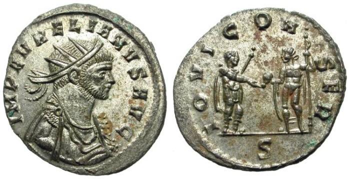 Ancient Coins - AURELIAN. VERY RARE ANTONINIAN. EF. FULL SILVERING !