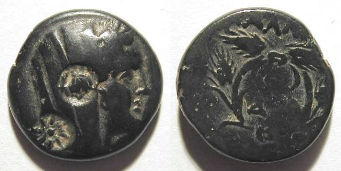 Ancient Coins - GREEK AE W/ 2 COUNTERSTAMPS. AMAZING THICK BLACK PATINA !