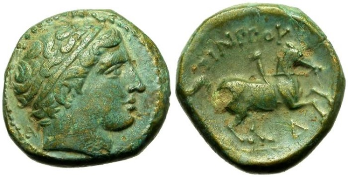 Ancient Coins - KINGDOM OF MACEDON. PHILIP II. AE ISSUE. NICE OLIVE GREEN PATINA
