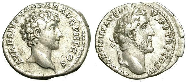 Ancient Coins - ANTONINUS PIUS AND MARC AUREL. DOUBLE PORTRAIT DENAR. NICE