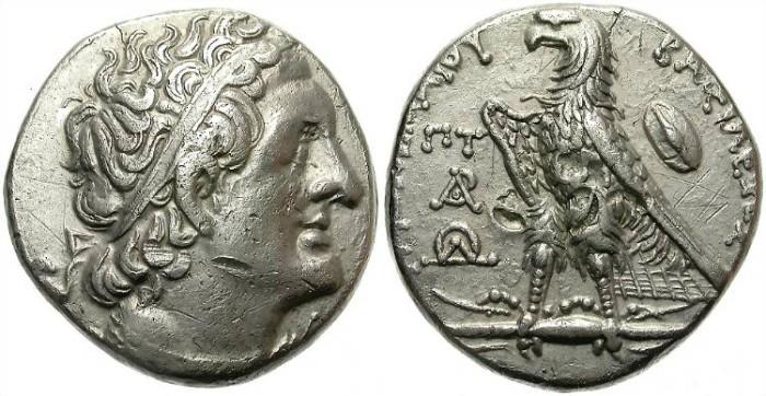 Ancient Coins - PTOLEMAIOS II.  285-246 BC. AR TETRADRACHM. ALEXANDRIA MINT. TONING. GOOD GENERAL CONDITION.