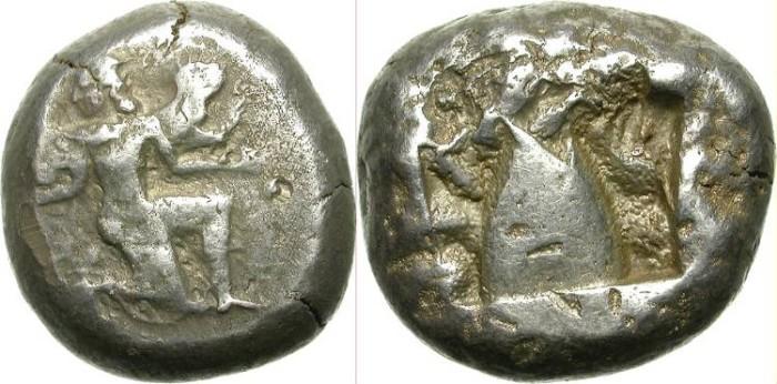 Ancient Coins - KAUNOS, CARIA. SILVER STATER. ARCHAIC EMISSION. WORN DIES BUT STILL IMPRESSIVE