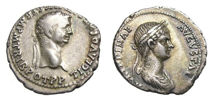 Ancient Coins - CLAUDIUS  AND  AGRIPPINA.  VERY  SCARCE  NENARIUS.