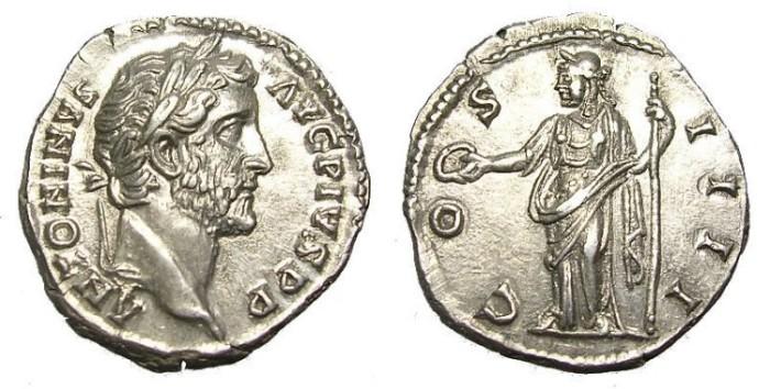 Ancient Coins - ANTONINUS  PIUS  DENARIUS  PRECIOUS  STRUCK.