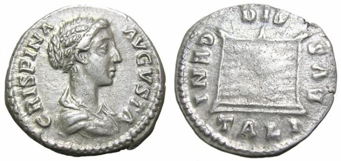 Ancient Coins - CRISPINA  DENARIUS.  INTERESTING  OBVERSE.