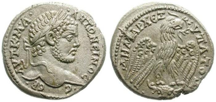 Ancient Coins - CARACALLA. TETRADRACHM. CAHRRAE, MESOPOTAMIA. SO BEAUTIFUL STRIKE