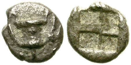 Ancient Coins - SILVER GREEK FRACTION. VERY RARE ARCHAIC ISSUE. KANTHAROS. POSSIBLY UNPUBLISHED