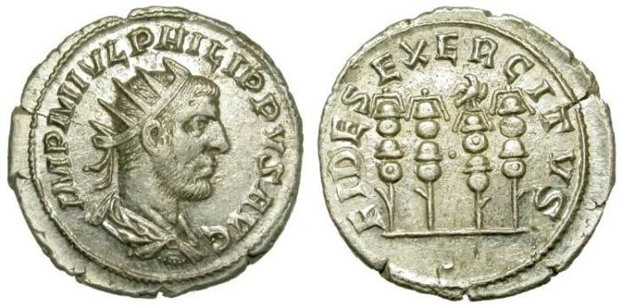 Ancient Coins - PHILIP I. ANTONINIAN. ANTIOCH. LEGIONARY STANDARDS. BEAUTIFUL ! /2