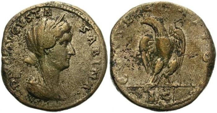 Ancient Coins - VERY RARE DIVA SABINA SESTERZ. BRASS (ORICHALCVM) BASE. CONSECRATIO & EAGLE