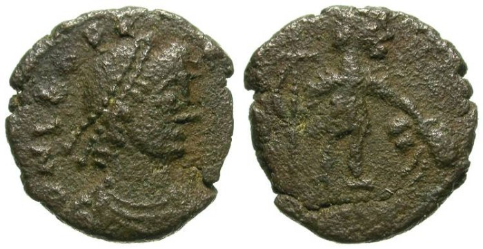 Ancient Coins - LEO. MINIATURE FRACTION. RARE LATE ROMAN BRONCE