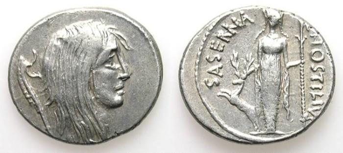 Ancient Coins - HOSTILIA SASERNA. DENAR. EF. ROMAN REPUBLIC. A BETTER SAMPLE WITH GALLIA ON OBVERSE !