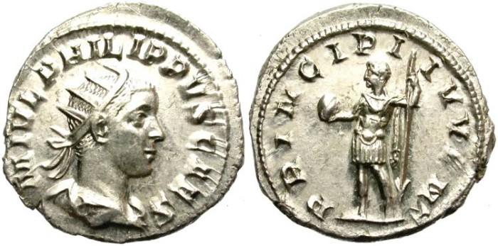 Ancient Coins - PHILIP II.  AD 244-247.  AR ANTONINIIANUS. GOOD CONDITION. LUSTROUS.