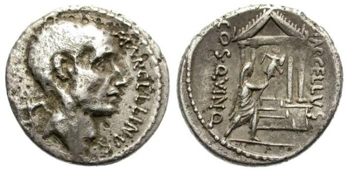 Ancient Coins - ROMAN REPUBLIC. SILVER DENARIUS. C. L. MARCELLINUS. CORNELIA 69. RARE !