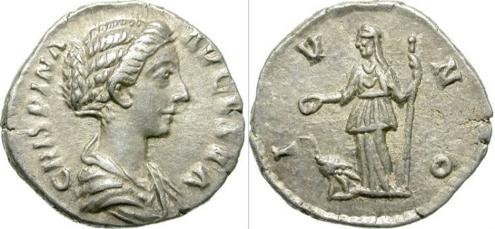 Ancient Coins - CRISPINA. ATTRACTIVE DENAR. GOOD RELIEF FOR ISSUE