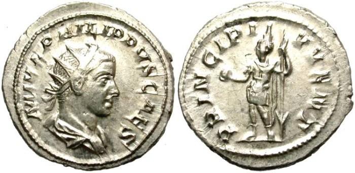 Ancient Coins - PHILIP II. AD 247-249.  AR ANTONINIAN. ROME. LUSTROUS. NICE COIN.
