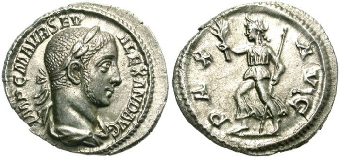 Ancient Coins - SEVERUS ALEXANDER.  SILVER DENARIUS.  BEAUTIFUL  COIN.