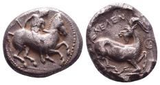 Ancient Coins - Cilicia, Kelenderis. AR Stater. Youth Dismounting / Goat Kneeling.