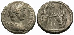 Ancient Coins - Roman Egypt, Alexandria. Hadrian. BI Tetradrachm. Alexandria Presents Grain Ears To Emperor.
