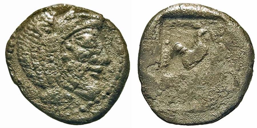 Ancient Coins - Thrace, Dikaia. AR Hemidrachm. Bearded Herakles / Cock. RARE.