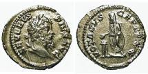 Ancient Coins - Septimius Severus. Denarius. Emperor Sacrificing.