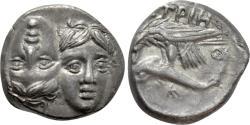 Ancient Coins - Moesia, Istros. AR Drachm. Inverted Heads / Sea Eagle w/Dolphin.