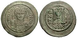 Ancient Coins - Byzantine Empire. Justinian I. Æ Follis. Impressive Large Flan.