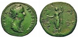 Ancient Coins - Faustina Sr. - Wife Of Antoninus Pius. Æ Sestertius. Juno.