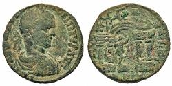 Ancient Coins - Phoenicia, Berytus. Elagabalus. Æ 25 mm. Marsyas Within Temple.