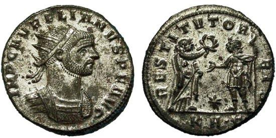 Ancient Coins - Aurelian. Silvered Antoninianus. Emperor Receives Wreath. Serdica Mint.