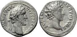 Ancient Coins - Antoninus Pius with Marcus Aurelius as Caesar. AR Denarius.
