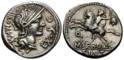 Ancient Coins - Roman Republic. M. Sergius Silus. AR Denarius. Soldier Holds Severed Barbarian Head.