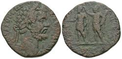 Ancient Coins - Septimius Severus. Æ Sestertius. Roma Crowning The Emperor.