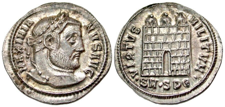 Ancient Coins - Maximianus. First Reign. AR Argenteus. Serdica mint. Lustrous.