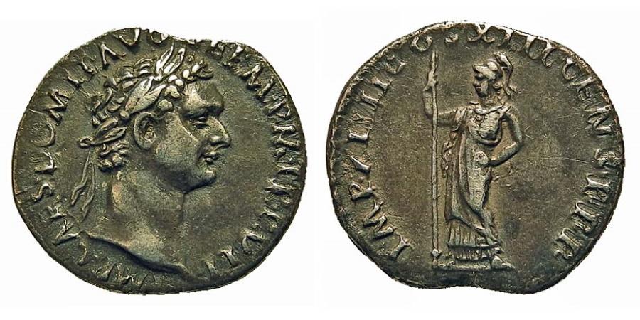 Ancient Coins - Domitian. AR Denarius. Minerva.
