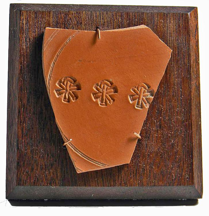 Ancient Coins - Christian Roman Red-Ware Fragment. Chi-Rho.