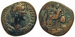 Ancient Coins - Antoninus Pius. Sestertius. Roma Holding Victory.