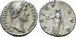 Ancient Coins - Hadrian. AR Denarius. Salus.